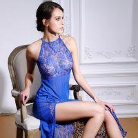 L0560 - Lingerie Long Gown Biru Transparan - Thumbnail 2