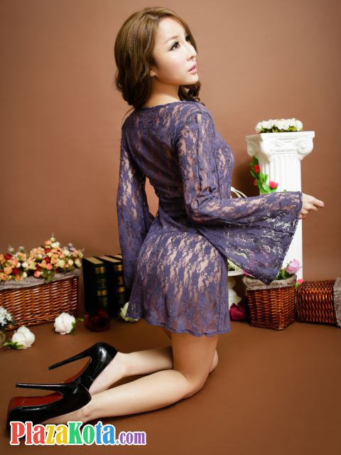 L0610 - Lingerie Nightgown Ungu Transparan, Lengan Panjang - Photo 3