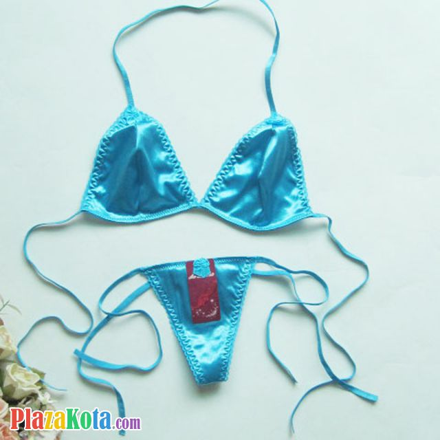 B158 - Bikini String Halterneck Biru, G-String Ikat Samping - Photo 1