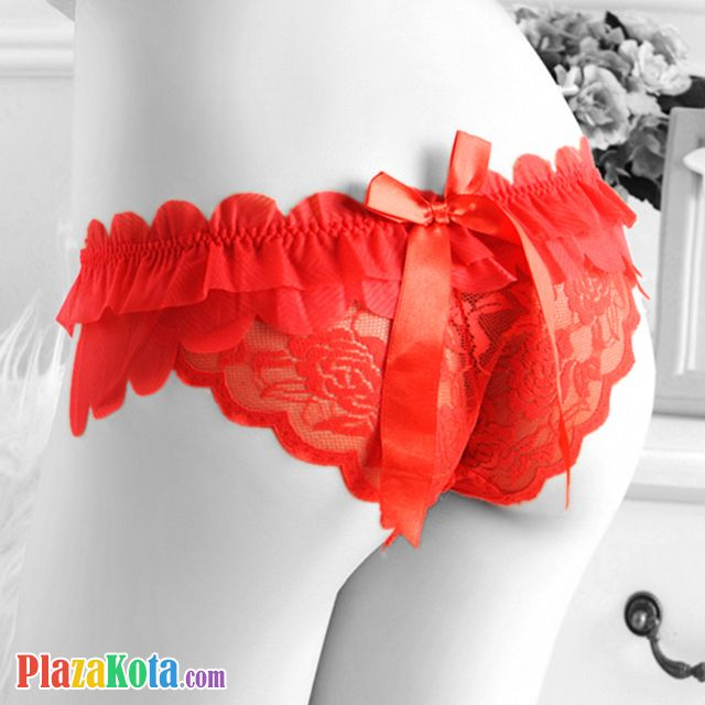 P174 - Celana Dalam Panties Thong Merah, Kupu-Kupu, Pita - Photo 2