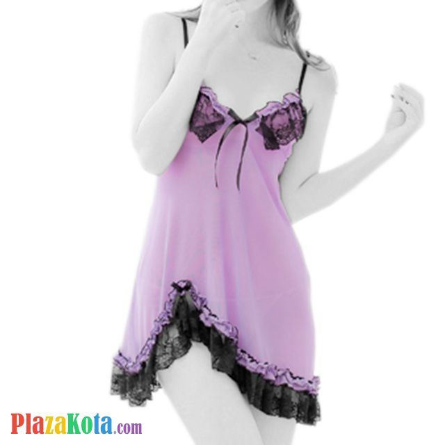 L0127 - Lingerie Babydoll Ungu Transparan - Photo 1