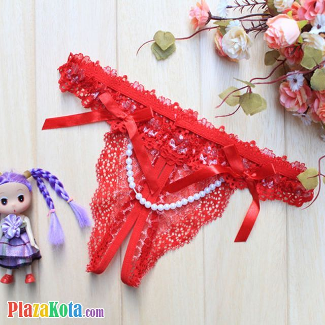 GS132 - Celana Dalam G-String Mutiara Crotchless Merah - Photo 1