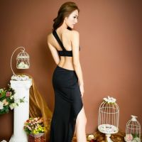 L0669 - Lingerie Long Gown Hitam - 2