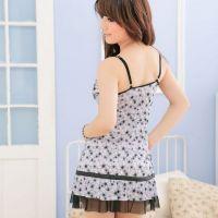 L0705 - Lingerie Nightgown Bunga Hitam - Thumb 3