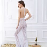 L0730 - Lingerie Long Gown Putih Transparan - 2