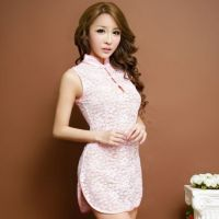 L0734 - Lingerie Costume Cheongsam Chinese Pink Transparan - Thumbnail 1