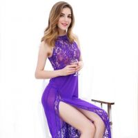 L0750 - Lingerie Long Gown Ungu Transparan - Thumbnail 2