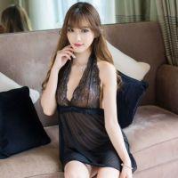 L0781 -  Lingerie Nightgown Halterneck Hitam Transparan