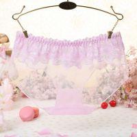 P298 - Celana Dalam Panties Hipster Pink Transparan, Renda Bunga - Thumbnail 2