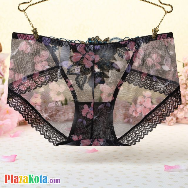 P309 - Celana Dalam Panties Hipster Hitam Transparan, Bordir Bunga - Photo 2