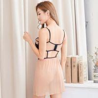 L0832 - Lingerie Nightgown Coklat Transparan, Bra Kawat - 2