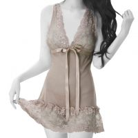 L0858 - Lingerie Nightgown Abu-Abu Transparan - Thumb 1