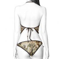 B249 - Bikini Bra Set Halterneck Emas, Panties Ikat Samping - Foto 2