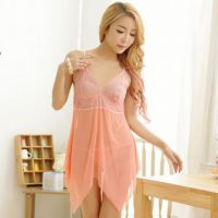 L0913 - Lingerie Nightgown Peach Transparan