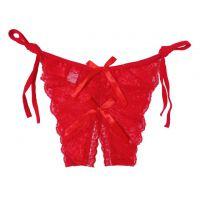 P391 - Celana Dalam Panties Thong Merah Transparan, Ikat Samping, Crotchless
