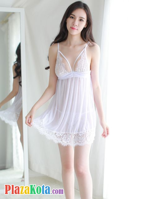 L0955 - Lingerie Babydoll Putih Transparan - Photo 1