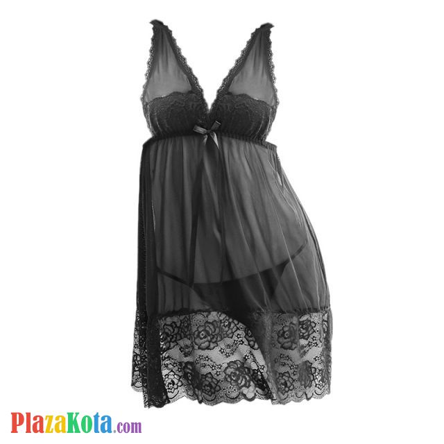 L1000 - Lingerie Nightgown Hitam Transparan - Photo 1