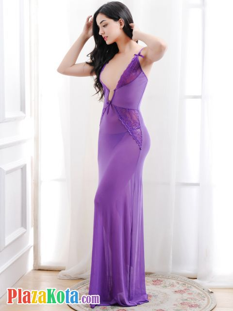 L1006 - Lingerie Long Gown Tali Silang Ungu Transparan - Photo 2