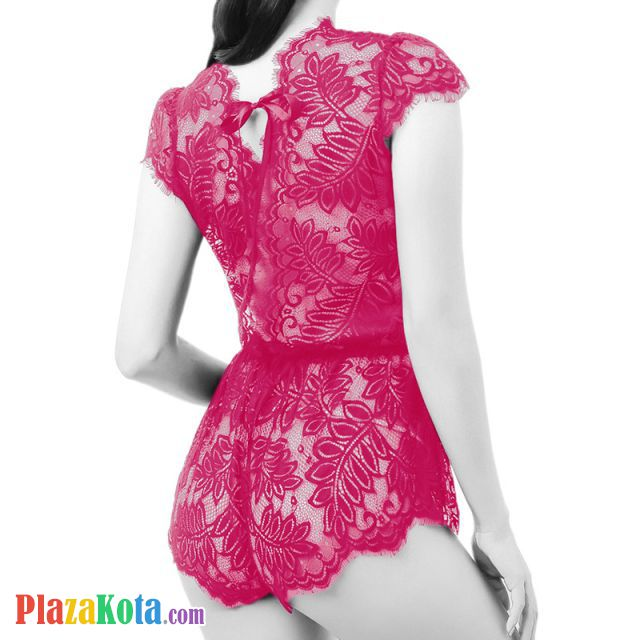 L1012 - Lingerie Teddy Romper Magenta Transparan - Photo 2
