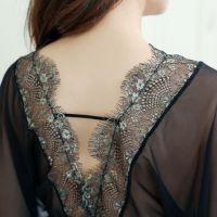 L1029 - Lingerie Long Gown Hitam Transparan, Lengan Pendek - Thumbnail 3