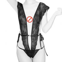 L1032 - Lingerie Teddy Hitam Transparan, Ikat Samping, Crotchless, Stocking Fishnet