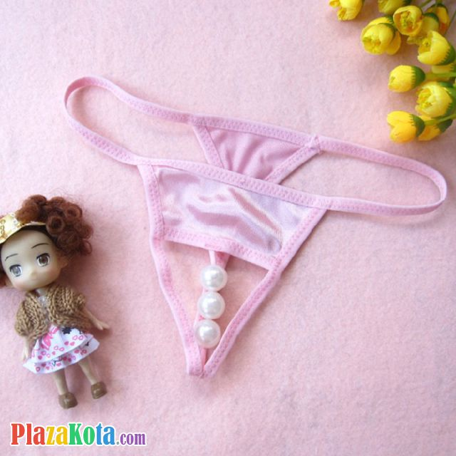 GS251 - Celana Dalam G-String Mutiara Crotchless Pink - Photo 1