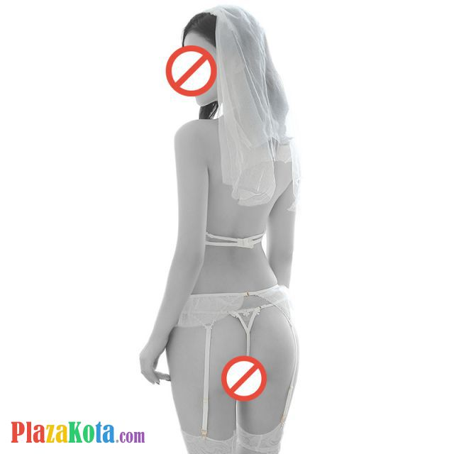B297 - Bikini Costume Bridal Pengantin Halterneck Putih Transparan, Bando Tudung, Garter Renda, Stocking Fishnet - Photo 2