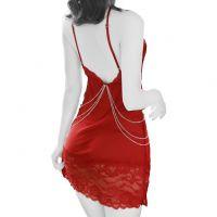 L1085 - Lingerie Chemise Merah Transparan, Belahan Dada Rendah, Rantai Emas - Foto 2