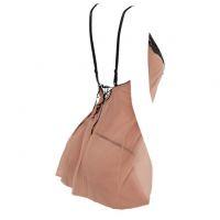 L1087 - Lingerie Nightgown Krem Transparan, Tali Pita Silang - Thumbnail 2