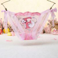 P455 - Celana Dalam Panties Thong Pink Transparan, Fox Musang, Ikat Samping