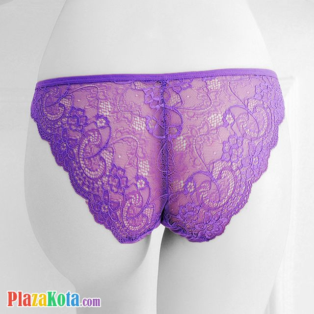 P463 - Celana Dalam Panties Thong Ungu Transparan, Tali 2 Samping - Photo 2