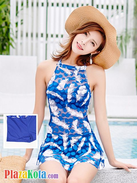 R001 - Baju Renang Swimsuit One Piece Halterneck Biru Transparan, Bra Kawat, Cup Busa - Photo 1