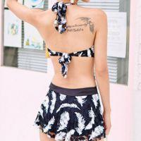 R003 - Baju Renang Swimsuit One Piece Halterneck Hitam Transparan, Bra Kawat, Cup Busa - Foto 2
