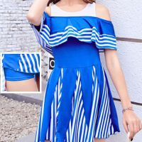 R004 - Baju Renang Swimsuit One Piece Biru, Cup Busa