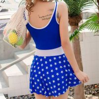 R010 - Baju Renang Swimsuit One Piece Biru, Cup Busa - 2