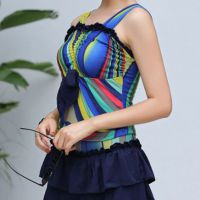 R017 - Baju Renang Swimsuit Two Piece Biru, Cup Busa - Thumbnail 2