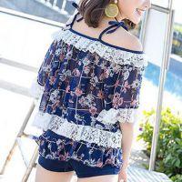 R023 - Baju Renang Swimsuit Three Piece Halterneck Biru, Bra Kawat, Cup Busa, Baju Lengan Pendek Transparan - Foto 3