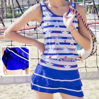 R024 - Baju Renang Swimsuit Two Piece Biru, Cup Busa