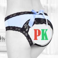 P467 - Celana Dalam Panties Hipster Biru, Pita, Belakang Terbuka