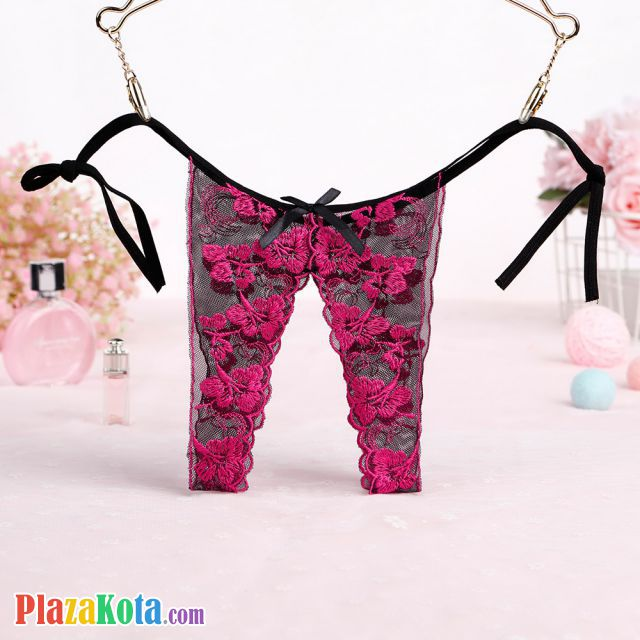 P502 - Celana Dalam Panties Thong Magenta Transparan, Crotchless, Ikat Samping - Photo 1