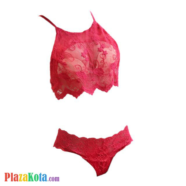 B302 - Bikini Bra Set Merah Transparan, Bordir Bunga - Photo 1