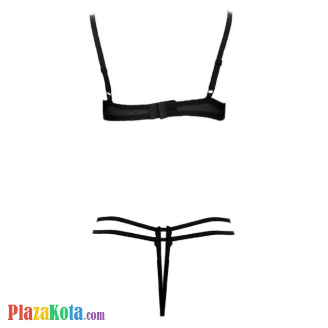 B310 - Bikini Bra Set Hitam Transparan, Bordir Bunga Biru, Bra Kawat, Open Cup, Crotchless - Photo 2
