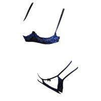 B310 - Bikini Bra Set Hitam Transparan, Bordir Bunga Biru, Bra Kawat, Open Cup, Crotchless