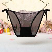 P543 - Celana Dalam Panties Thong Hitam Transparan, Bunga Pink, Ikat Samping