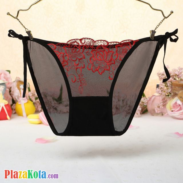 P545 - Celana Dalam Panties Thong Hitam Transparan, Bunga Merah, Ikat Samping - Photo 1