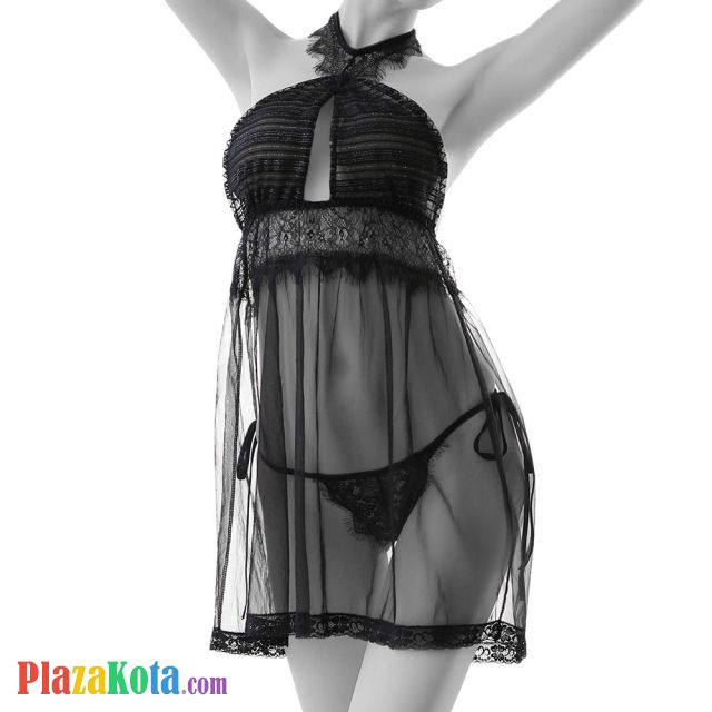 L1114 - Lingerie Nightgown Halterneck Hitam Transparan - Photo 1