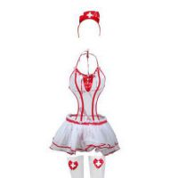 L1119 - Lingerie Costume Teddy Nurse Suster Putih Transparan, Bando, Rok, Stocking Fishnet