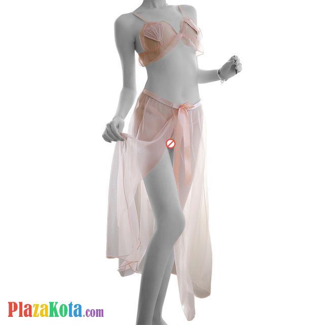 B314 - Bikini Bra Set Krem Transparan, Crotchless, Rok Panjang - Photo 1