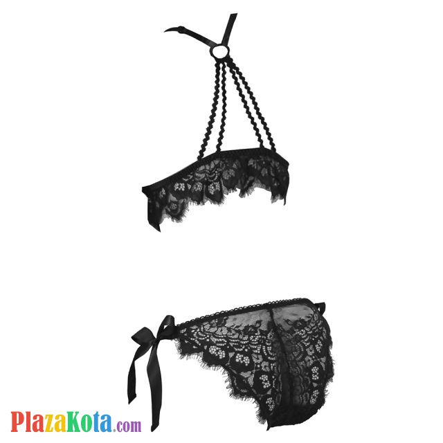 B325 - Bikini Bra Set Halterneck Hitam, Panties Ikat Samping - Photo 2