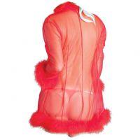 L1190 - Lingerie Robe Merah Transparan, Tepi Bulu - Thumbnail 2
